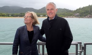The prime minister, Malcolm Turnbull, and his wife, Lucy, on a boat near Magnetic Island, near Townsville, on Monday.