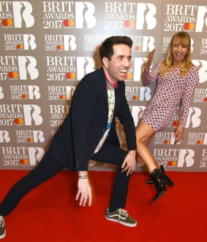 Nick Grimshaw and Sara Cox on the red carpet at the O2 Arena