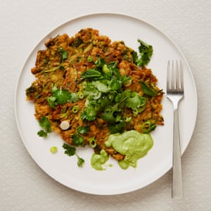 Yotam Ottolenghi's courgette, chickpea and herb pancakes