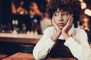 'I expected a short break to cry in the bathroom' … a barmaid (posed by a model).