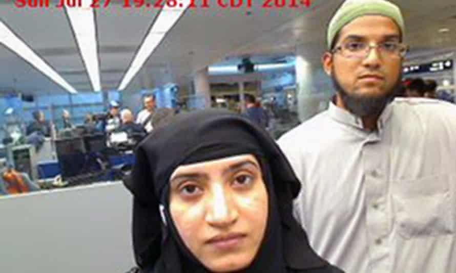 Tashfeen Malik and Syed Farook in airport surveillance footage.