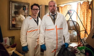 Reece Shearsmith, left, and Steve Pemberton in white forensic overalls in an episode of  sinister comedy Inside No 9.
