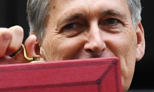 Philip Hammond holds up his red box