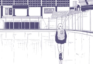 a partial frame from spinning in which the central character walks alone on the ice rink