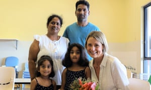 Senator Kristina Keneally with the Nadesalingam family – mum Priya, dad Nades, Kopica, 5, and Tharunicca, 3 – in the visitors' room at the Christmas Island detention centre on 17 April.