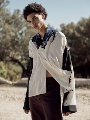 Silk kimono top, £1050, Haider Ackermann, brownsfashion.com Purple trousers, £420, cloh.co.uk