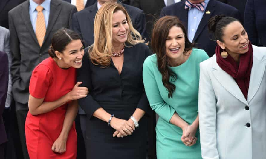 Democratic members-elect Alexandria Ocasio-Cortez of New York, Debbie Mucarsel-Powell of Florida, Abby Finkenauer of Iowa and Sharice Davids of Kansas pose for the 116th Congress members-elect group photo