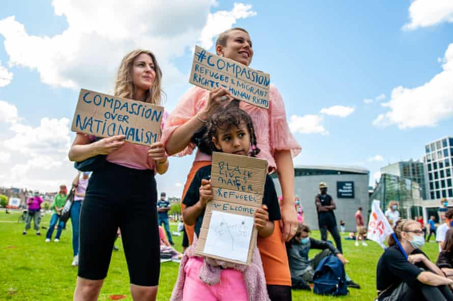 Dutch protesters take part in a demonstration against unsafe conditions in detention centres, border prisons and asylum seekers' centres
