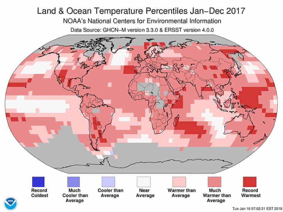 Global temperature map, January to December 2017.