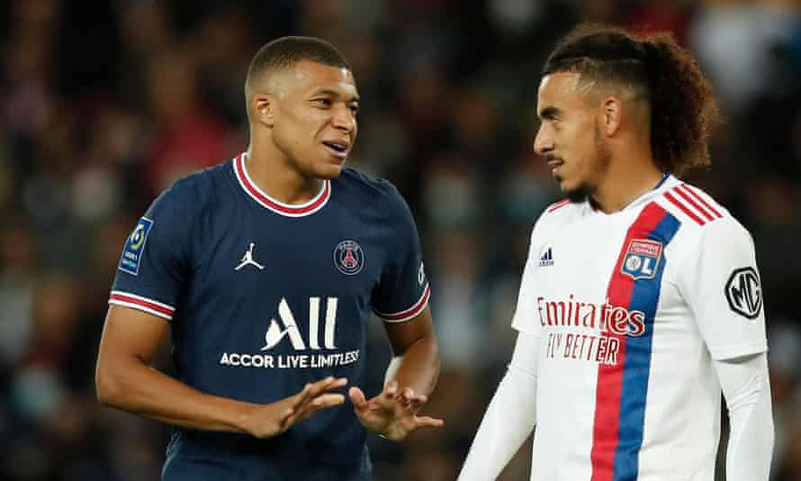 Lyon full-back Malo Gusto made life difficult for PSG's Kylian Mbappé.