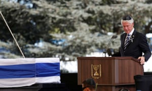 Bill Clinton eulogises Peres during his funeral ceremony in Jerusalem.