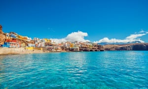 Not so blue Mondays … the fishing village of Sardina del Norte, Gran Canaria.Crystal clear water and unspoiled Canarian landscape at the beautiful fishing village of Sardina del Norte with its colourful houses.