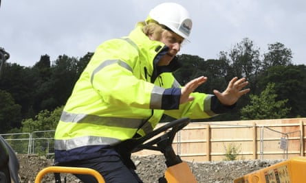 Boris Johnson in hi-vis jacket