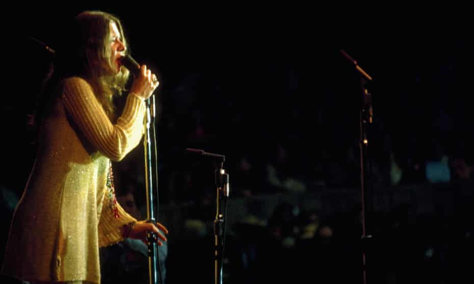 Janis Joplin performing at the Monterey festival.