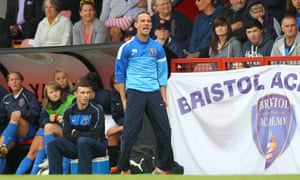 Mark Sampson in charge of Bristol Academy during a game at Arsenal Ladies in September 2013.