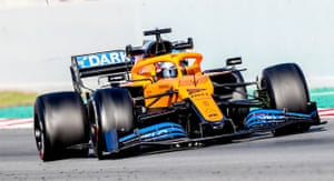 Carlos Sainz puts the MCL35 through its paces during pre-season testing at Barcelona in February