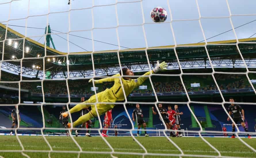 Serge Gnabry's fierce strike fizzes past Anthony Lopes in the Lyon goal.