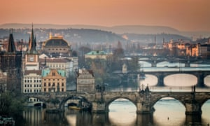 Czech Republic, Prague, cityscape with Charles Bridge at dawn