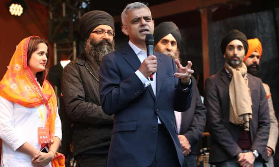Sadiq Khan at celebrations in London marking the Sikh religious festival Vaisakhi
