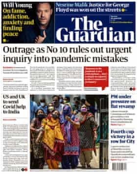 Guardian front page Monday 26 April 2021