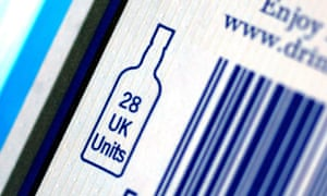 Alcohol units advertised on a barcode