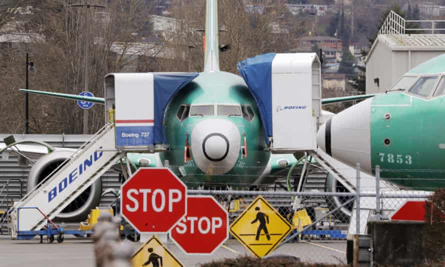 Boeing 737 Max jets parked at the factory in Renton, Washington, US.