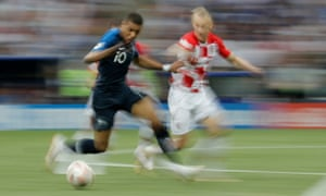 Kylian Mbappe uses his pace to take on the Croat defence. But Croatia are looking the far more threatening overall.