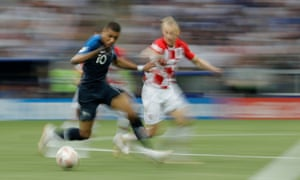 Kylian Mbappe take on the Croat defence during the World Cup final.