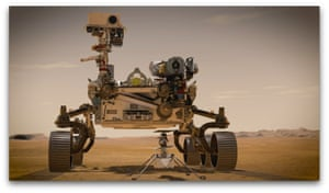 An artist's impression issued by Nasa of the Ingenuity Mars rover and helicopter. Nasa is set to launch the car-sized robotic spacecraft to Mars from Florida