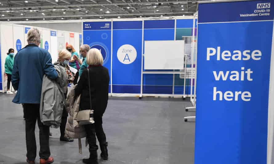 People waiting at the Excel vaccination centre in London