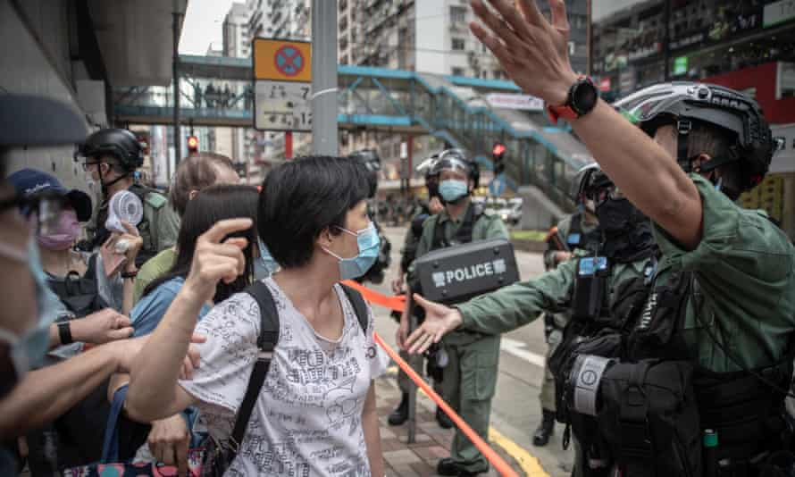 Hong Kong residents protest against China's new national security law