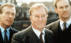 Robert Hardy, centre, with Christopher Timothy, left, and Peter Davison in All Creatures Great and Small, the BBC TV series based on the novels of James Herriot.