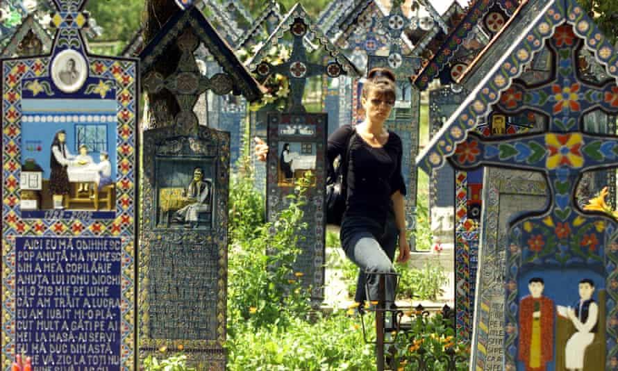 A vistor to the Merry cemetery in Sapanta, Romania.