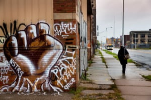 Many neighborhoods in Detroit remain distressed since the collapse of the motor industry.