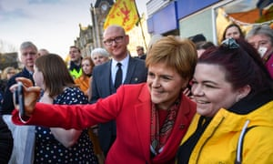 Nicola Sturgeon posing for a picture on a visit to Dalkeith today.
