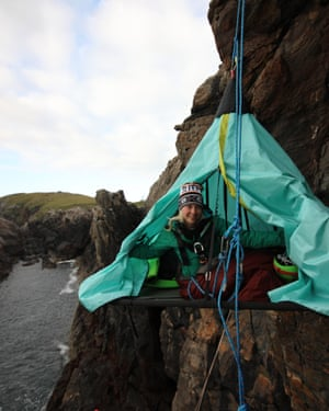 Phoebe in her portaledge on a mission to raise money and awareness about youth homelessness through adventure