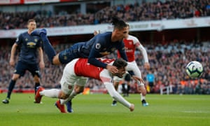 Chris Smalling jumps on top of Sead Kolasinac but Arsenal beat Manchester United 2-0 in this fixture at the Emirates in March 2019.