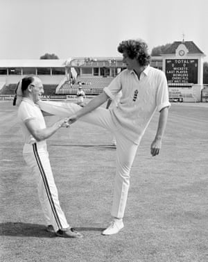 Warwickshire and England fast bowler Bob Willis limbers up with physio Bernard Thomas prior to the first Test match against India at Edgbaston in July 1979. England won by an innings and 83 runs.