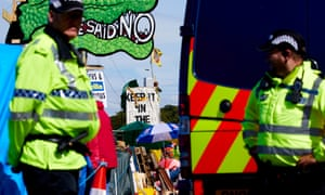 Police monitor protests at Cuadrilla's site in Lancashire earlier this month.