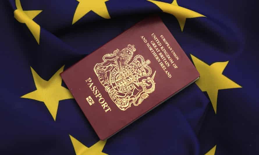 A British passport on an EU flag
