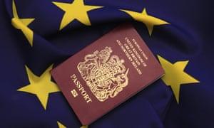 EU symbol and UK passport