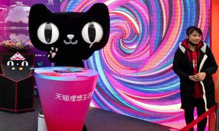 A mascot a shopping website owned by Alibaba, which is accused of using sexist advertisements.