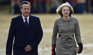 David Cameron with his home secretary, Theresa May