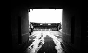 The tunnel leading to and from the team dressing rooms at Wembley Stadiums.