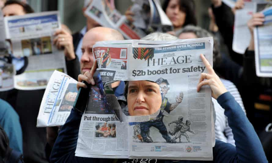 Staff at the Age newspaper in Melbourne walk out in protest at Fairfax staff cuts in May 2017.