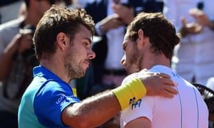 Stan Wawrinka and Andy Murray embrace at the net after their epic French Open semi-final in 2017.