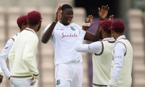 Jason Holder celebrates during his fine performance in West Indies' four-wicket win against England in the first Test at the Ageas Bowl.