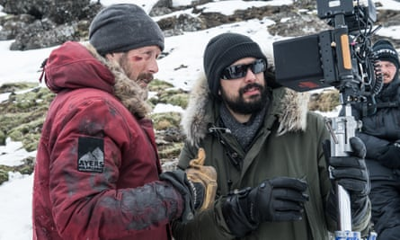 Director JoePenna and MadsMikkelsen on the set of Arctic.