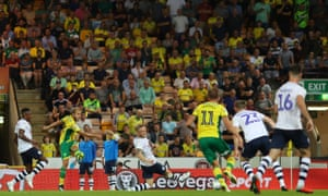 Teemu Pukki (left) of Norwich City scores.