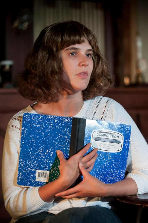Emily Spowage as Andrea Dunbar, with prized notebook.